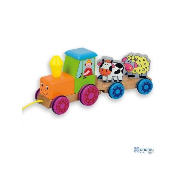 """Traukiamas medinis žaislas """"Traktorius"""""""